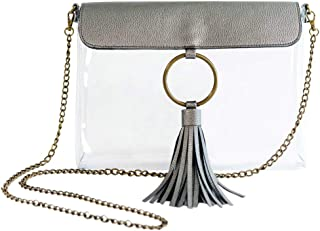 MB Greene Designer Clear Stadium Approved Pewter Purse Cross Body Bag with Tassel and Chain for Concerts and Sporting Events - Be Clear Collection