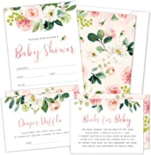 Set of 25 Floral Baby Shower Invitations, Diaper Raffle Tickets and Baby Shower Book Request Cards with Envelopes. It's a ...
