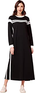 فستان ماكسي كاجوال باكمام طويلة وتصميم هودي للنساء من ماي اند فن