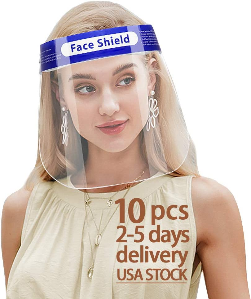 10 PCS Safety Adult Face New York Max 59% OFF Mall Shield Transparent Reusable B Full