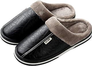 Holibanna Zapatillas de Invierno para Hombres Zapatos de Interior Antideslizantes de Cuero de PU Impermeables Zapatillas d...