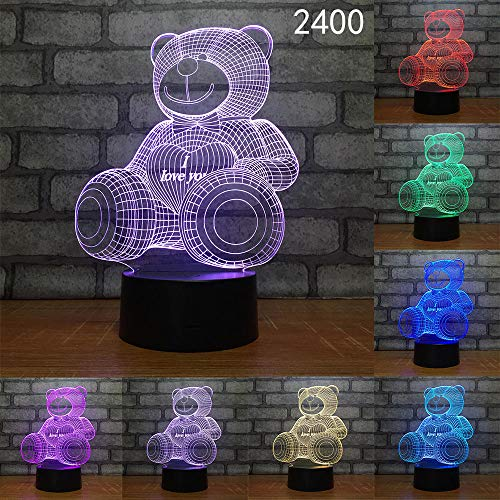 Carikatuurzebra-beer-aap schattige dierenvorm acryl LED helder 3D nachtlamp-Baby-kinderslaap-verlichting Dropshipping