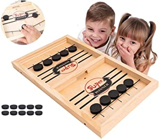 HOWADE Fast Sling Puck Game,Catapult Chess Bumper 2 in 1 Slingshot Table Ice Hockey Winner Board Party Game Toy for Parent...