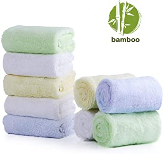 """Baby Washcloths 9 Pack, 100% Organic Bamboo Baby Bath Washcloth Face Towels, Soft Hypoallergenic Absorbent 10""""X10"""" Newborn Towel Set for Boys & Girls Great Baby Shower Gift 