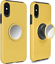 iPhone Xs Max Case Cover,UPHIDO Tough Heavy Shock Dual Layers Protective Expanding Phone Pop Handle Stand and Grip Built-in Iron for Magnetic Mount Rugged Duty Protection for iPhone Xs Max (Yellow)