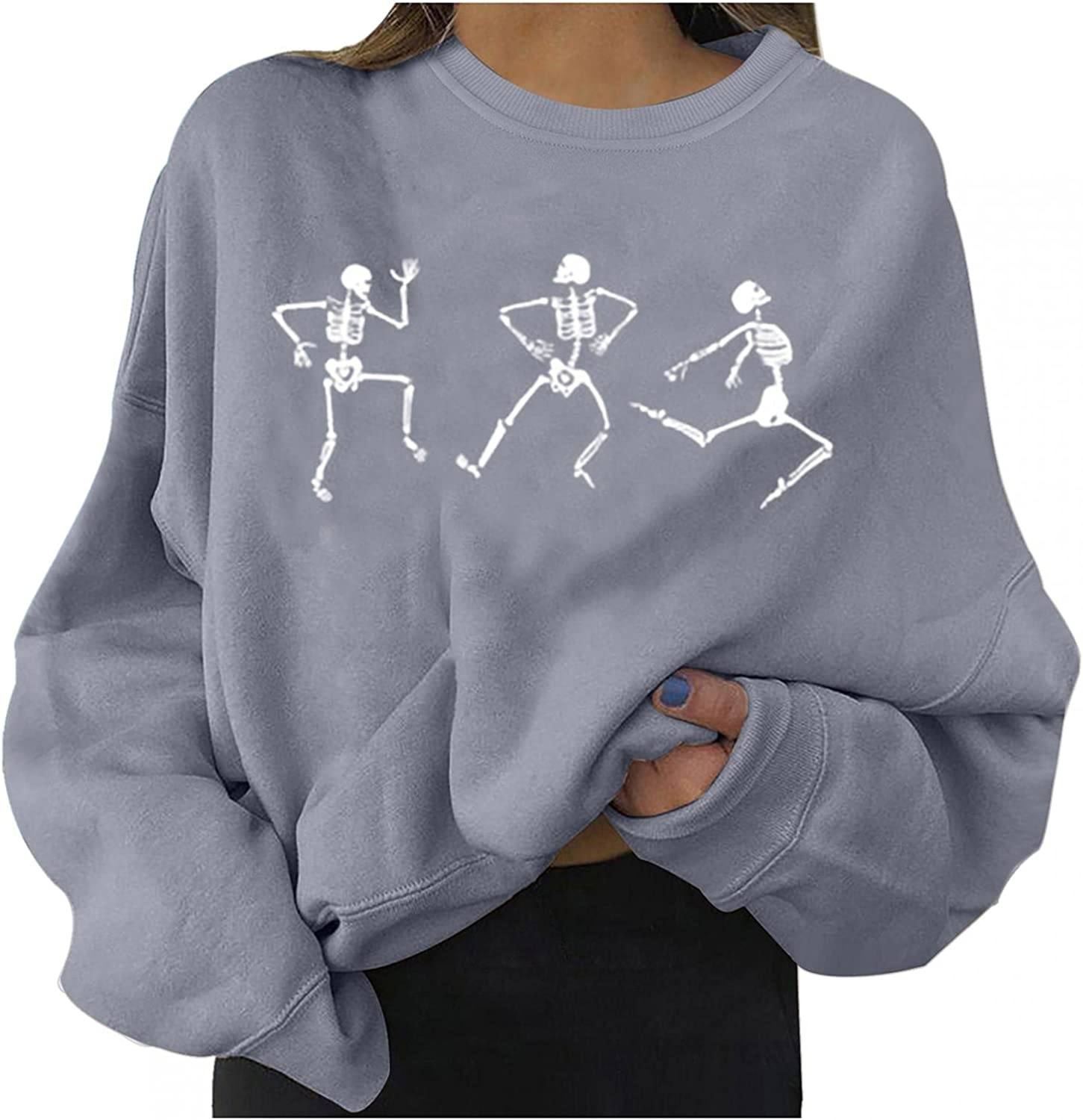 Halloween Sweaters for Women,Pumpkin Graphic Long Sleeve O Neck Pullover Tops Costumes Casual Loose Hoodies