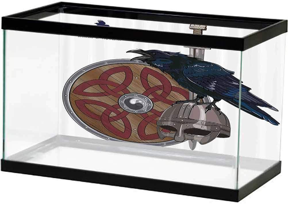 ScottDecor Viking Boston Mall PVC Aquarium Background Raven on Helmet Steel 25% OFF