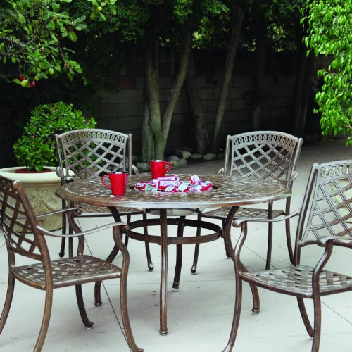 Darlee Sedona 5 Piece Cast Aluminum Patio Dining Set - Dining Table with Ice Bucket Insert - Mocha