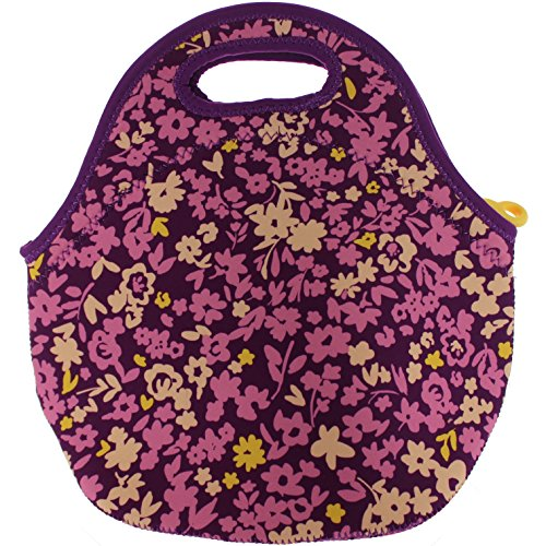 Built NY Gourmet Getaway Neoprene Lunch Tote, Medium, Lib Floral Purple