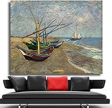 Barcos en la Playa Paisaje Pared Arte Cuadros para Sala Vincent Van Gogh Lienzo Pintura decoración del hogar 60x80 cm sin Marco