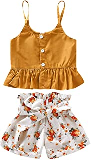 BOUTIKOME Toddler Kids Baby Girl Floral Halter Ruffled Outfits Clothes Tops + Shorts