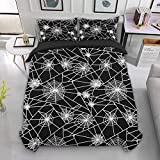 Spider Web Duvet Cover Queen with Zipper Closure 3 Pieces Black Bedding Set Comforter Cover with 2 Pillowcases Soft Hypoallergenic Microfiber Duvet Cover 90' x 90' (No Comforter)