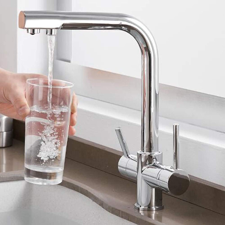 KUNHAN Kitchen Sink Faucet Tap Kitchen Faucet Solid Brass Black Kitchen Deck Inssizetion Water Filter Faucet Three Ways Sink Mixer 3 Way Kitchen Faucet