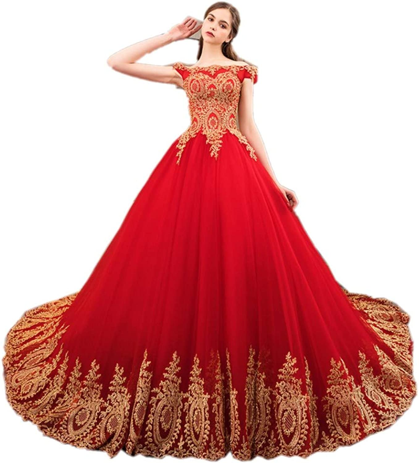 Darcy74Dulles Women's gold Appliques Red Wedding Dress Sweetheart Prom Ball Gown Princess