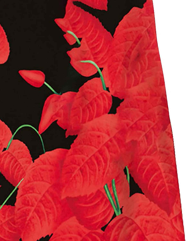 ESULOMP Women's Summer Casual T Shirt Dresses V-Neck Botanical Floral Print Short Sleeve Swing Dress with Pockets