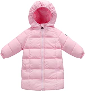 FEOYA Kids Hooded Down Jackets Solid Windproof Puffer Winter Coat Outwear