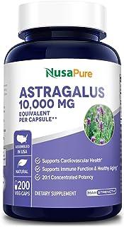 Astragalus 10000mg Per Caps 200 Veggie Capsules (Vegetarian, Non-GMO & Gluten Free) Max Strength - Supports Cardiovascular Health, Boosts Immune Function