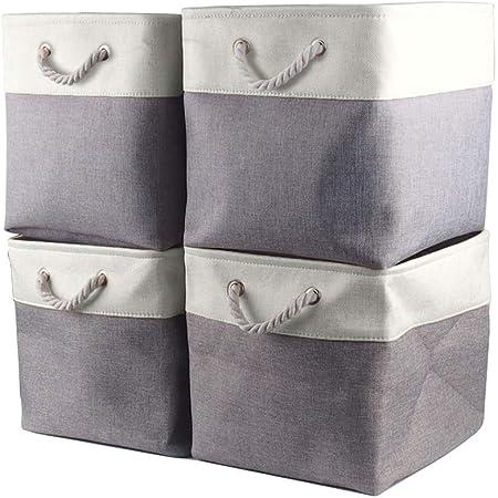 Mangata Cube de Rangement Tissu 30 x 30 x 30 cm, Panier Cube de Rangement, Boite de Rangement Pliable pour Jouets, Vêtement (Lot de 4, Blanc Gris)