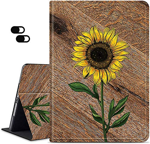 Case for All New Kindle Fire 7 Tablet 9th/7th/5th Generation 2019/2017/2015 Release Dikoer Smart Series Adjustable Stand Protection Cover Auto Sleep/Wake 2 Pack Camera Cover Wood Sunflower
