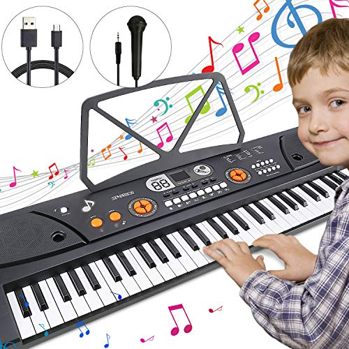 Magicfun Elektrische Piano Keyboard, 61-Tasten Tragbare Tastatur Klavier Kinder Klaviertastatur mit Notenpult, Stromanschluss und Mikrofon, Interactive Teaching Christmas Geschenke für Mädchen Jungen