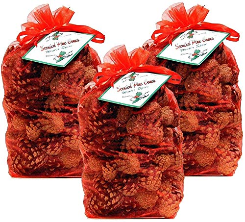 The Milford collection Scented Pine Cones in Red Organza Bag
