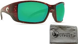 Costa del Mar Blackfin Green Mirror 580P Tortoise Frame Sunglasses w/Cloth