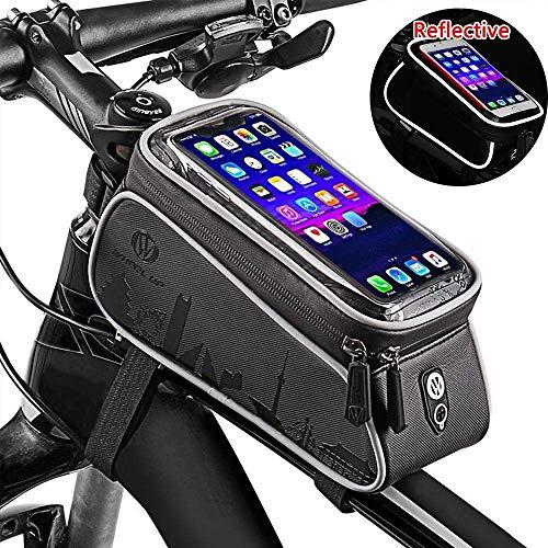 Speedy Panther Fahrrad Rahmentasche Wasserdicht Fahrradtasche Lenkertasche Handyhalterung Oberrohrtasche mit Kopfhörerloch Reflektierend für Smartphone unter 6 Zoll