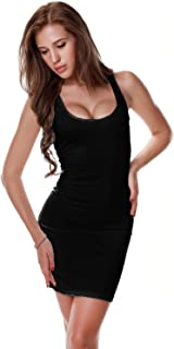 Women's Sexy Low Cut Cotton Mini Tank Dress/Vest