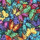 Timeless Treasures Stoff mit Bunten Schmetterlingen