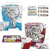Egan PPUSET/7 Set da Mug/Tovaglietta, Modello Puffo, Porcellana, Multicolore, 3 unità