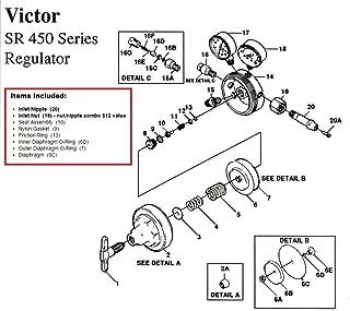Victor SR450D Regulator Rebuild/Repair Parts Kit W/ DIAPHRAGM & BOTTLE FITTINGS