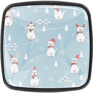 Modèle de Noël avec joli chat santa 4 PCS Tiroir de Porte Poignée, Bouton de Meubles, Boutons de Tiroir, Boutons de Porte,...
