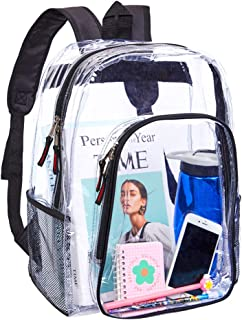 Heavy Duty Clear Backpack,Transparent Vinyl Adjustable Straps Backpack for Work,School, Security Travel & Sports