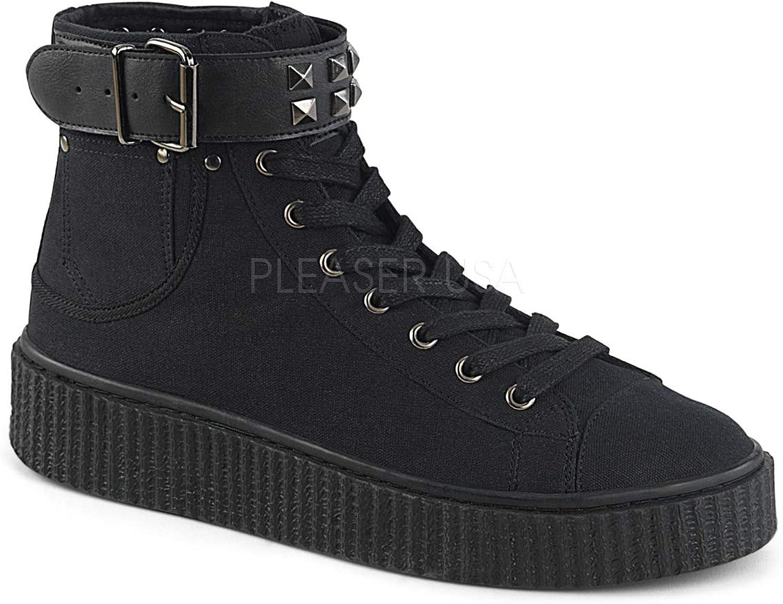 Demonia Unisex SNEEKER-255 High Top Creeper Sneaker Black
