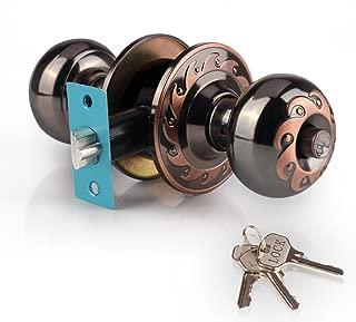 Ivoku Ball Privacy Interior Doorknob with 3 Key and Deadbolt,Vintage Keyed Entry Door Knobs Lock Set, Security Deadbolt Knob Handle for Bathroom Bedroom Study Classroom Storeroom (Red Copper)