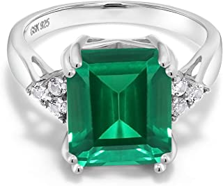 925 Sterling Silver Green Simulated Emerald Women Ring (5.66 Ct Emerald Cut, Available in size 5, 6, 7, 8, 9)