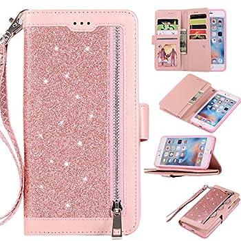 EYZUTAK Wallet Case for iPhone 6 Plus iPhone 6S Plus,Magnetic Handbag Zipper Pocket PU Leather Flip with 9 Card Slots and Wrist Strap Folio TPU Inner Stand Case for iPhone 6 Plus/6S Plus - Rose Gold