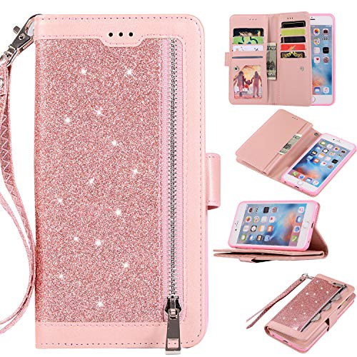 EYZUTAK Wallet Case for iPhone 6 iPhone 6S,Magnetic Handbag Zipper Pocket PU Leather Flip with 9 Card Slots and Wrist Strap Folio TPU Inner Stand Case for iPhone 6/6S - Rose Gold
