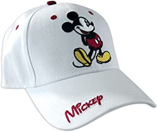 Disney Classic Mickey Mouse Adult Hat Baseball Cap, White & Red