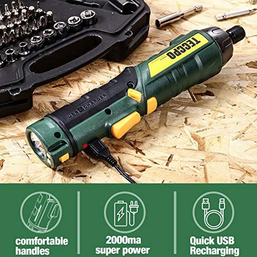 Cordless Screwdriver, 45Pcs 6Nm TECCPO Electric Screwdriver, 4V 2000mAh Li-ion, 9+1 Torque Gears, Adjustable 2 Position, USB Rechargeable -TDSC01P