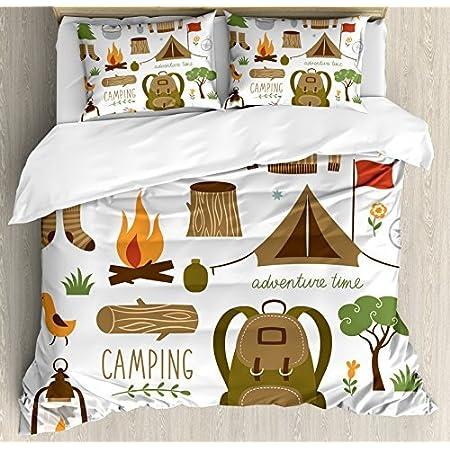 Ambesonne Adventure Duvet Cover Set Camping Equipment Sleeping Bag Boots Campfire Shovel Hatchet Log Artwork Print Decorative 3 Piece Bedding Set With 2 Pillow Shams King Size White Khaki Home