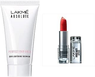 Lakmé Absolute Perfect Radiance Skin Lightening Facewash, 50g & Lakme Enrich Matte Lipstick, Shade RM14, 4.7g