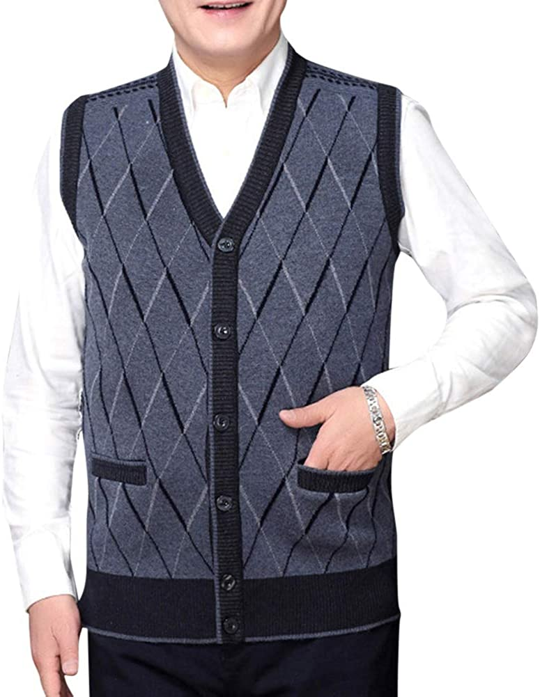 YYNUDA Mens V-Neck Striped Knitted Sleeveless Wool Sweaters Vest Thermal Cardigan with Front Button