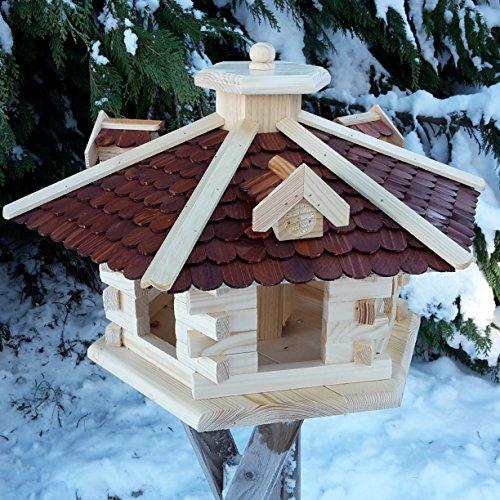 Vogelhaus Vogelhäuser Vogelfutterhaus Vogelhäuschen aus Holz Schreinerarbeit Gaube Braun sehr Groß XXL