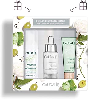 Caudalie Instant Brightening Heroes Set. Brightening Vinoperfect Radiance Serum (30 milliliters), Gentle Instant Foaming Cleanser (50 milliliters), and Exfoliating Glycolic Peel (15 milliliters).