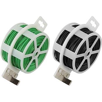 Shintop 2PCS 328 Feet Garden Plant Twist Tie with Cutter for Gardening, Home, Office (Green+Black)
