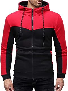 UUYUK Men's Casual Slim Contrast Color Zip Up Hooded Sweatshirt