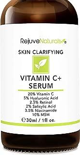 Vitamin C Serum Plus 5% Hyaluronic Acid, 2.5% Retinol, 2% Salicylic Acid, 3.5% Niacinamide, 10% MSM, 20% Vitamin C - Anti Aging Anti Wrinkle Skin Clearing Serum Organic Skin Care for Face and Eyes 1oz