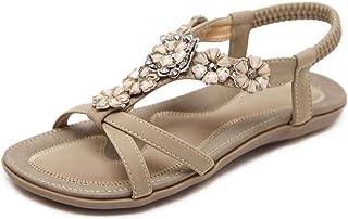 SHIBEVER Women Sandals Summer Boho Casual Flat Ankle T-Strap Thong Elastic Comfortable Flip Flops Beach Shoes Sandal