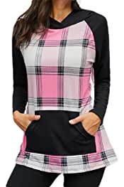 desolateness Womens Long Sleeve Cowl Neck Plaid Patchwork Pullover Sweatshirt